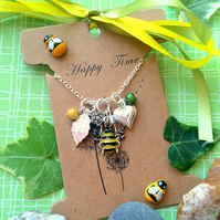 Bumble Bee Love cluster with Swarovski Crystal Necklace