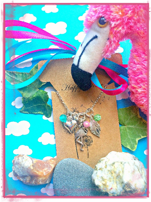 Flamingo and Swarovski Love cluster Necklace