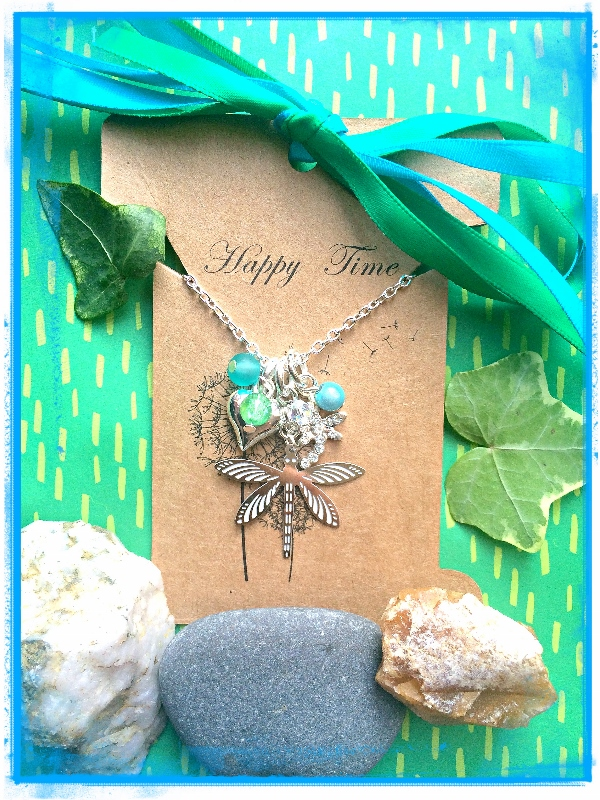 Dragonfly and Swarovski Crystal Love cluster Necklace