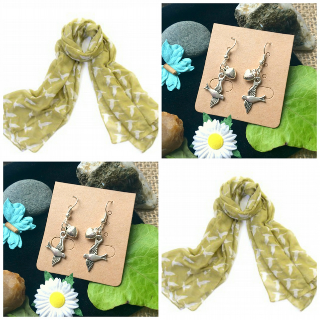 Discontinued - Gorgeous Geese Green scarf wrap with Handmade Bird Earrings