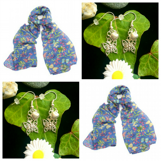 Discontinued - Beautiful Butterfly scarf wrap with Handmade Butterfly Earrings