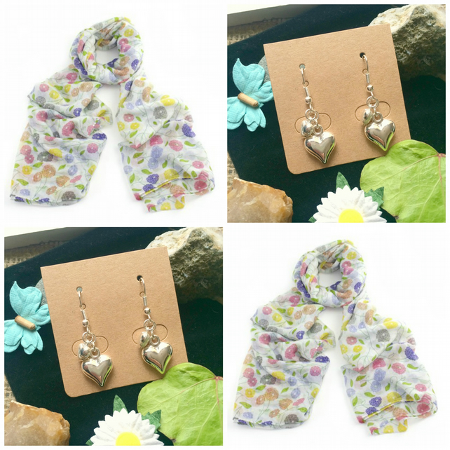 Beautiful Flower scarf wrap with Handmade Butterfly Earrings