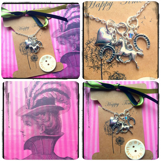 Horse Lovers cluster and Swarovski Necklace