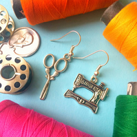 NEW Sewing Themed charm Earrings - Silver Colour
