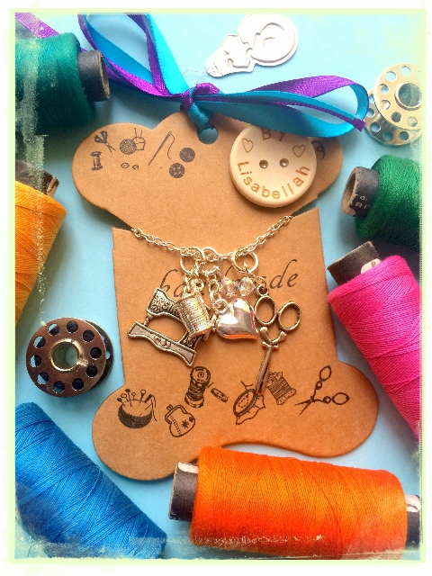 Sewing Love cluster and Swarovski Necklace