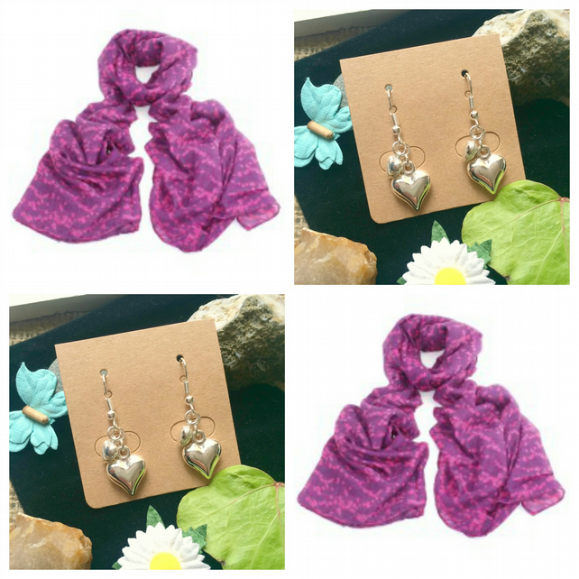 Beautiful Pink Berry scarf wrap with Handmade Heart Earrings