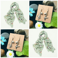 Beautiful Green Bird scarf wrap with Handmade Bird Earrings