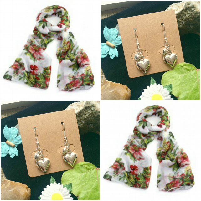Discontinued - Beautiful Cherry and Flower scarf wrap - Handmade Heart Earrings