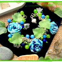 Offer Blues and Green Flower Garden Themed bracelet :-)