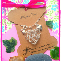 Heart cluster and Swarovski Necklace