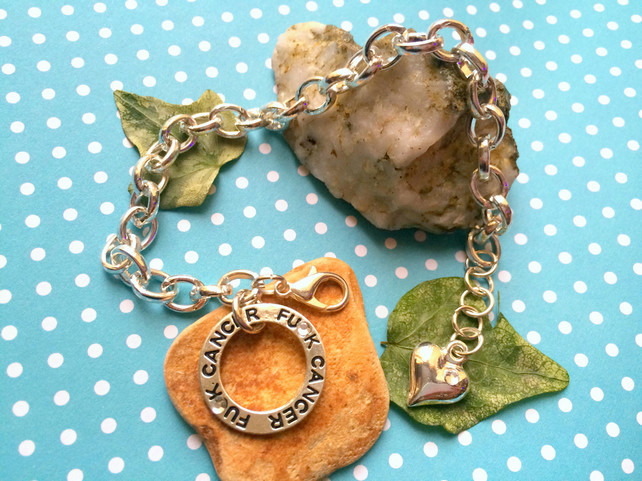 FU-K CANCER Bracelet with sparkles