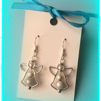 Christmas Angel Earrings with Illusion beads that catch the light