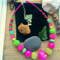 "SALE - Pink and Lime Green necklace - 17"" Chain"
