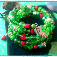Offer Ladybird Green and Red Wrap Bracelet - One size