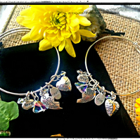 Mother Daughter matching Charm Bangles with Swarovski crystals