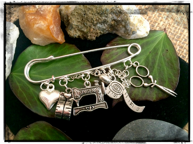 Sewing Theme Kilt pin Brooch