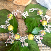 Sale Yellow and Silver Beaded Charm bracelet with Swarovski crystals