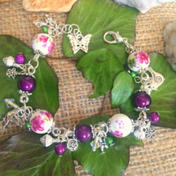 Deep purple and Silver Beaded Charm bracelet with Swarovski crystals