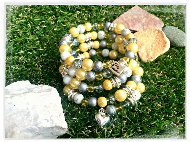 Sale Lemon Yellow, Grey and Silver Wrap Bracelet - One size