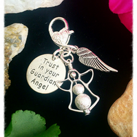 SALE 'Trust in your Guardian Angel' keyring bagcharm zip charm