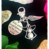 SALE'May your angel always be by your side' KEYRING bagcharm zip charm