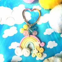 Pastel Rainbow Beaded Keyring Bag Charm
