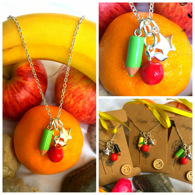 Green Teachers Apple, Pencil and Star Necklace