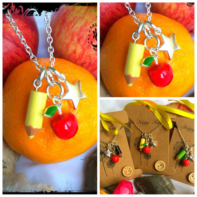 Yellow Teachers Apple, Pencil and Star Necklace
