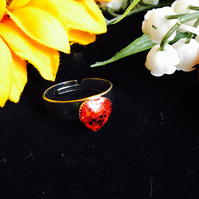 SALE heart ring - red glitter