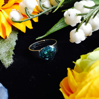 SALE heart ring - teal glitter