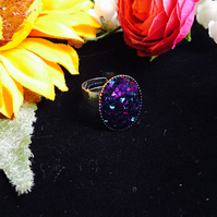 SALE oval ring - purple and teal glitter