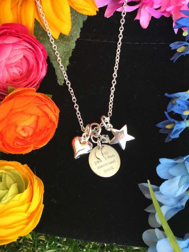 Moon and Back Necklace with Heart and Star