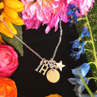 Personalised Moon and Back Necklace with star