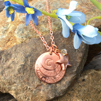 Moon and Back Necklace - Rose Gold