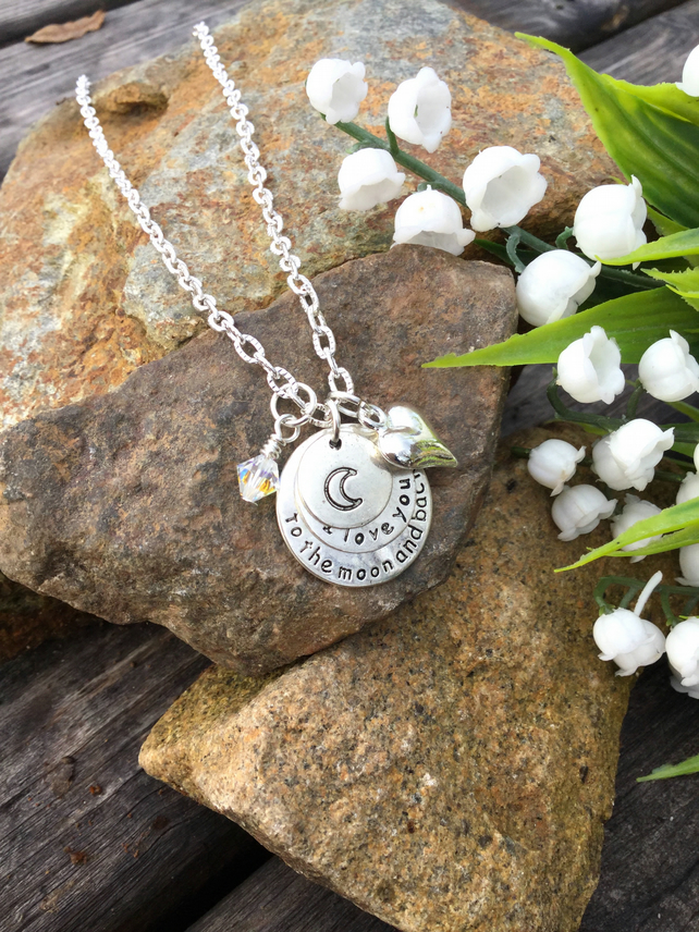 OFFER - Moon and Back Swarovski necklace