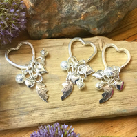 Mother and 2 Daughter matching split Heart Keyrings