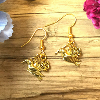 Bird and Flower Earrings