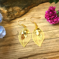 Leaf Cluster Earrings - Gold Plate