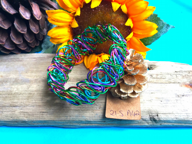 Rainbow Wire Bangle - By Lisabellah