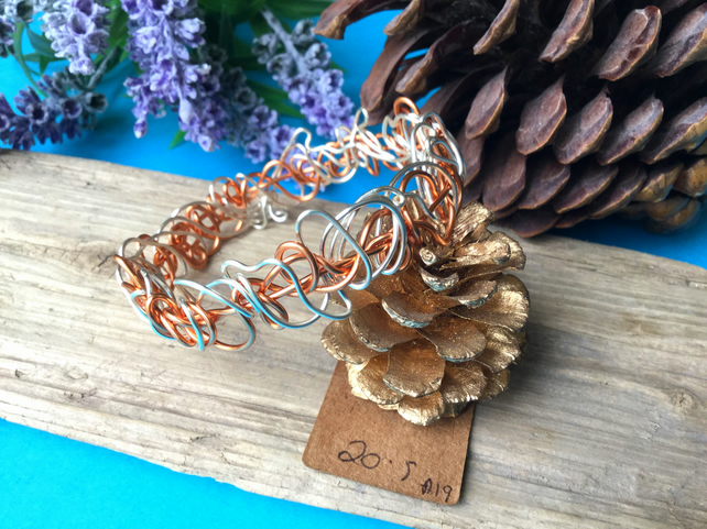 Copper and silver Wire Bangle - By Lisabellah