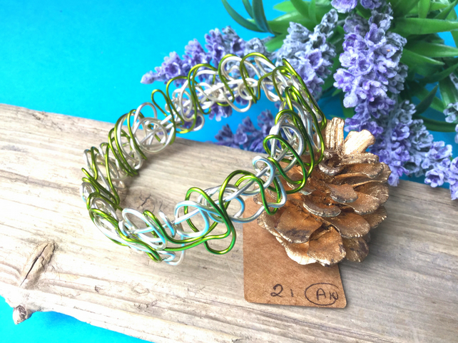 Green and Silver Wire Bangle - By Lisabellah
