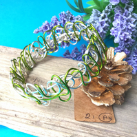 SALE Green and Silver Wire Bangle - By Lisabellah