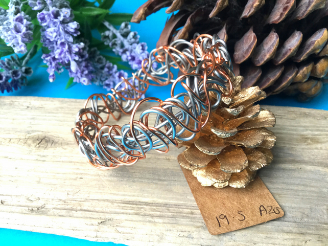 Copper and Steel Wire Bangle - By Lisabellah