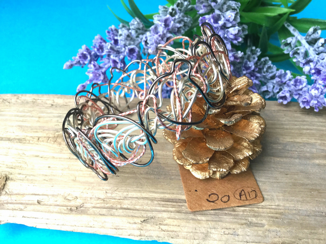 Rose gold, Gunmetal and Silver Wire Bangle - By Lisabellah