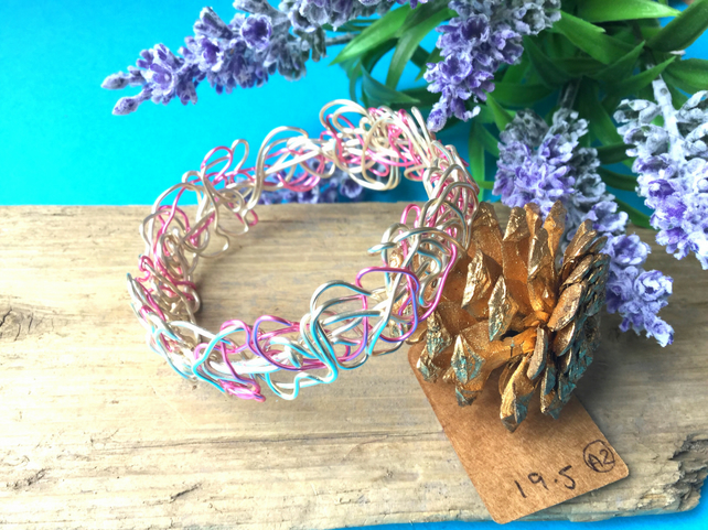 Pink and Silver Wire Bangle - By Lisabellah