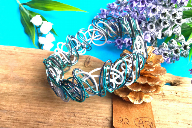 White, mint pale blue and Grey Wire Bangle - By Lisabellah