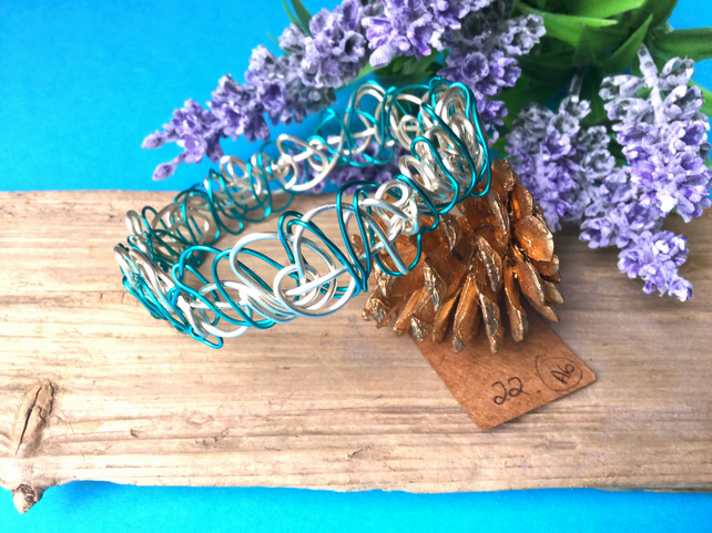 Turquoise and silver Wire Bangle - By Lisabellah