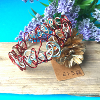 Red and Silver Wire Bangle - By Lisabellah