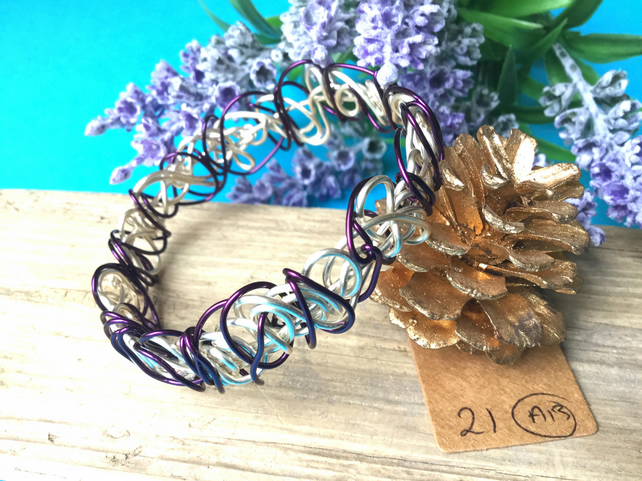 Dark purple and silver Wire Bangle - By Lisabellah