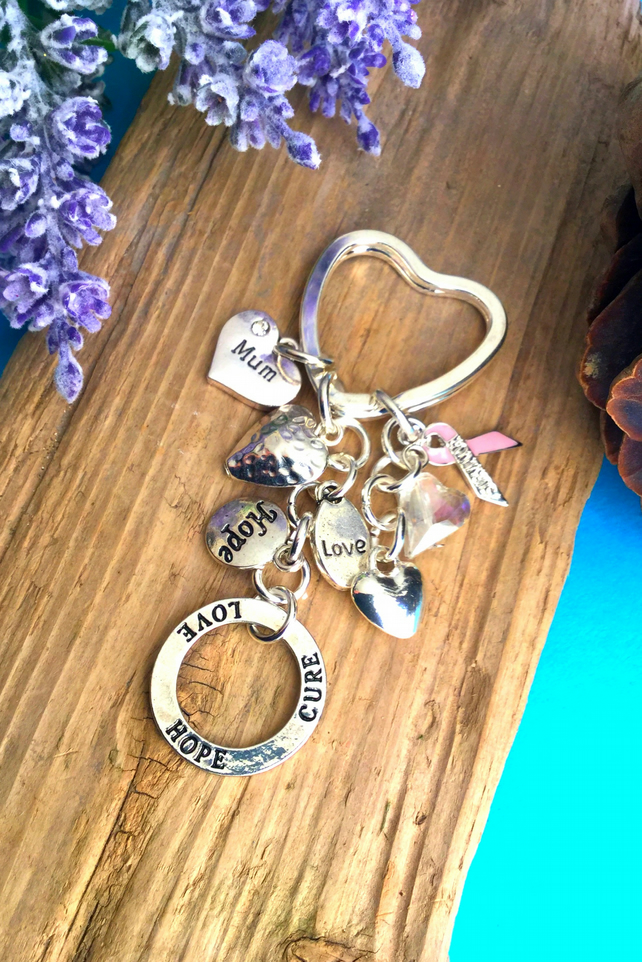 Cancer Survivor, Love, Hope, Cure keyring - Mum